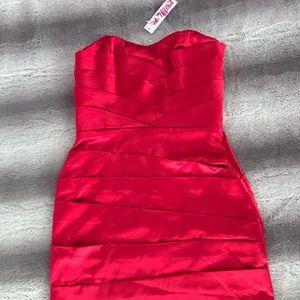 Strapless Red Satin Ruffled Dress